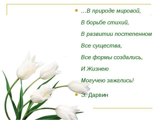 …В природе мировой, В борьбе стихий, В развитии постепенном Все существа, Все...