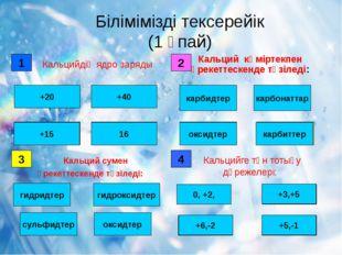Білімімізді тексерейік (1 ұпай) 1 дұрыс қате +20 +40 16 +15 2 қате қате карб