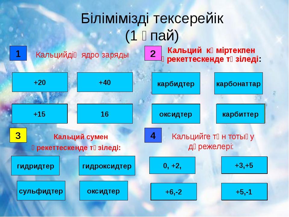 Білімімізді тексерейік (1 ұпай) 1 дұрыс қате +20 +40 16 +15 2 қате қате карб...