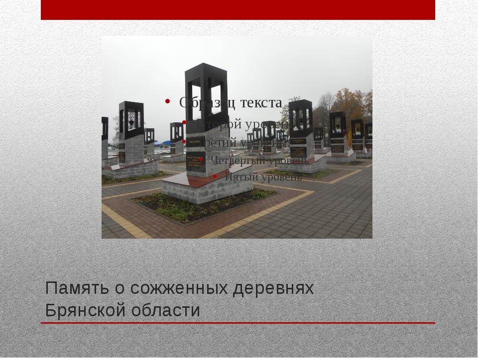 Память о сожженных деревнях Брянской области