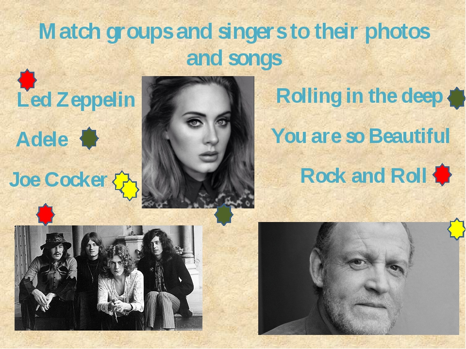 Match groups and singers to their photos and songs Led Zeppelin Adele Joe Coc...