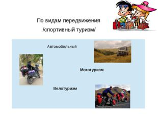 По видам передвижения /спортивный туризм/ Автомобильный Мототуризм Велотуризм