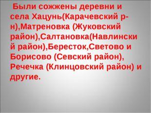 Были сожжены деревни и села Хацунь(Карачевский р-н),Матреновка (Жуковский ра