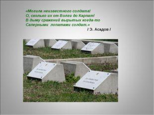 «Могила неизвестного солдата! О, сколько их от Волги до Карпат! В дыму сражен