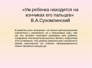 «Ум ребенка находится на кончиках его пальцев» В.А.Сухомлинский В развитии ре