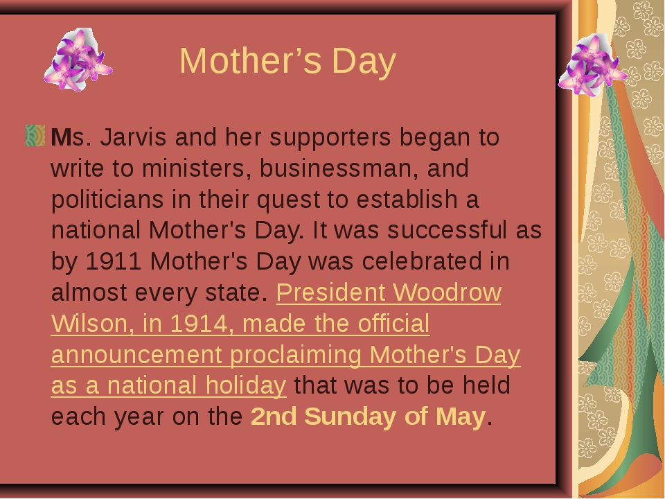 Mother's Day Ms. Jarvis and her supporters began to write to ministers, busin...