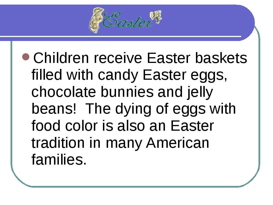 Children receive Easter baskets filled with candy Easter eggs, chocolate bunn...