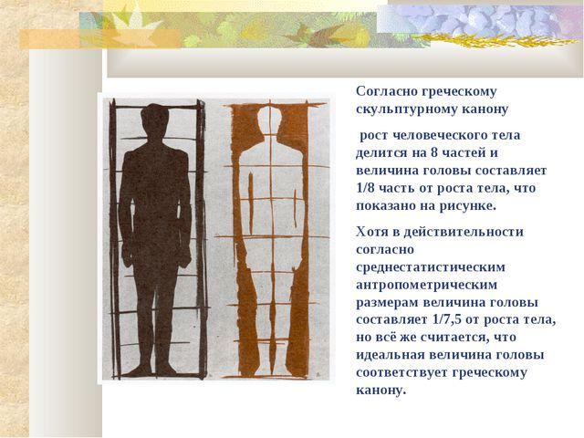 Согласно греческому скульптурному канону рост человеческого тела делится на 8...