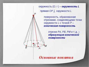 Р А В М r О поверхность, образованная отрезками, соединяющими точки окружнос