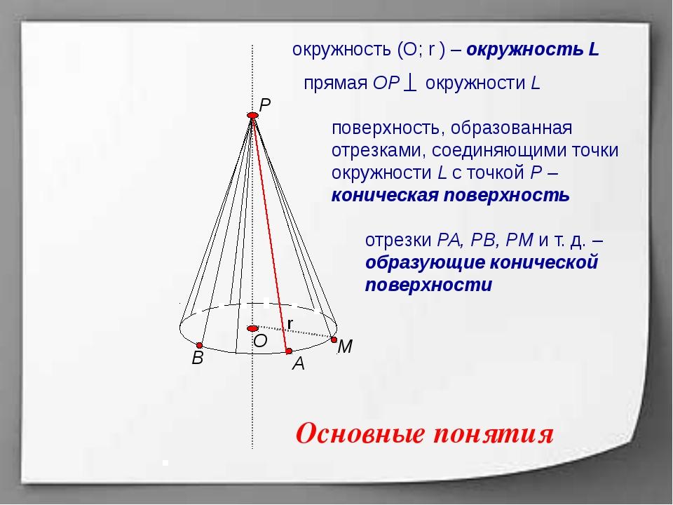 Р А В М r О поверхность, образованная отрезками, соединяющими точки окружнос...