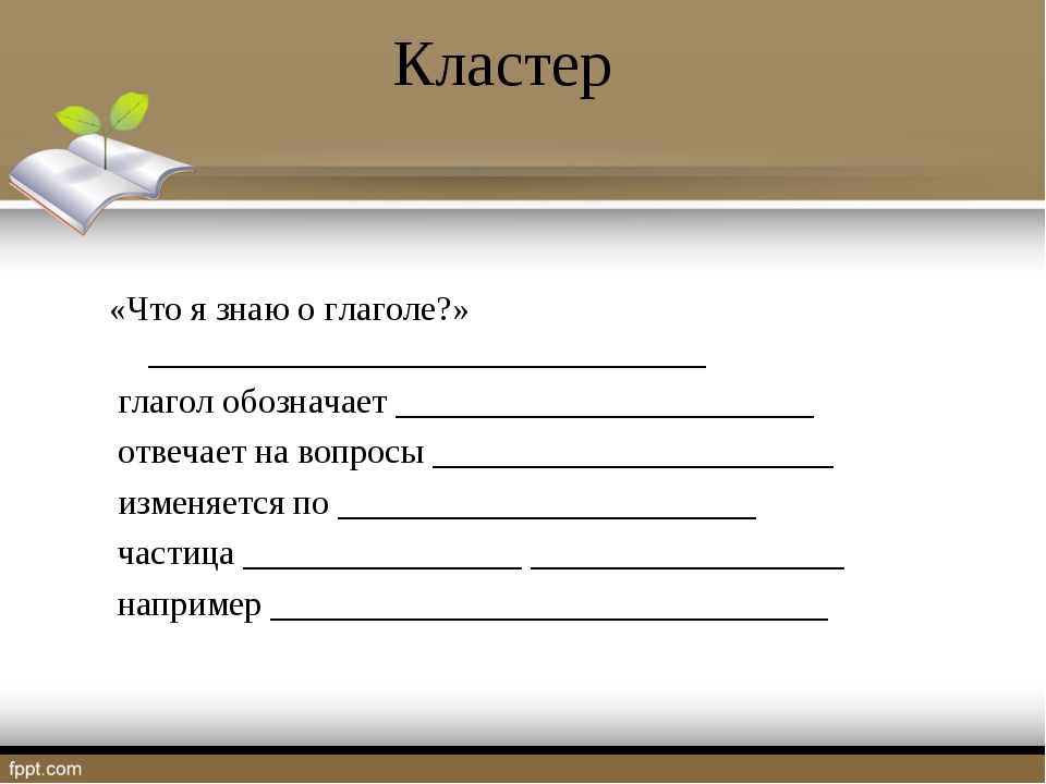 Кластер «Что я знаю о глаголе?» ________________________________ глагол обозн...