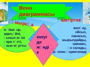 Венн диаграммасы еңбекқор, адал,үйлі, қызыл және қара түсті, ұзын мұртты жал