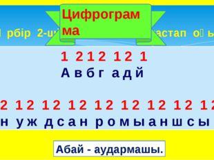 Әрбір 2-ші әріпті сызып тастап оқы. Цифрограмма 1 2 1 2 12 1