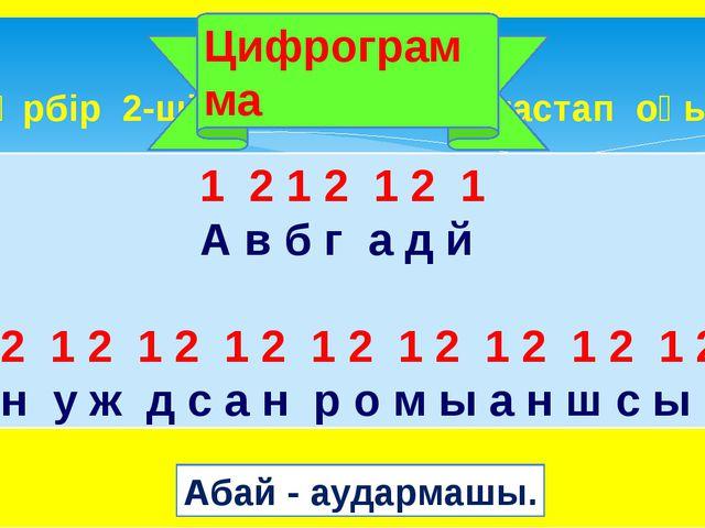 Әрбір 2-ші әріпті сызып тастап оқы. Цифрограмма 1 2 1 2 12 1...