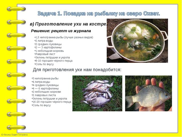 в) Приготовление ухи на костре. Решение: рецепт из журнала 1,5 килограмма рыб...