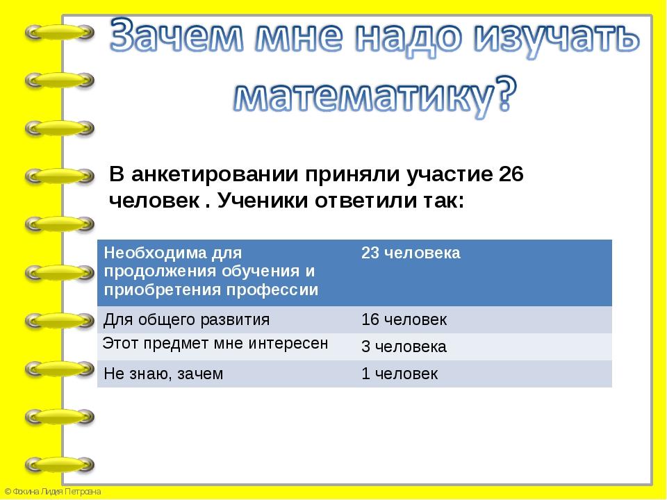В анкетировании приняли участие 26 человек . Ученики ответили так: Необходима...