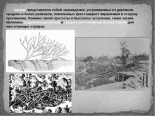 Засеки представляли собой заграждение, устраиваемые из деревьев средних и б