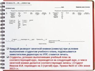 Каждый разворот зачетной книжки (семестр) при условии выполнения студентом уч