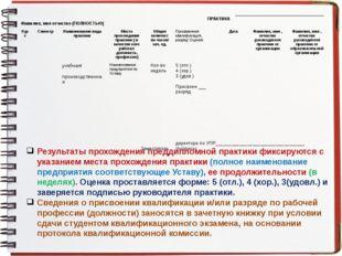 Результаты прохождения преддипломной практики фиксируются с указанием места п