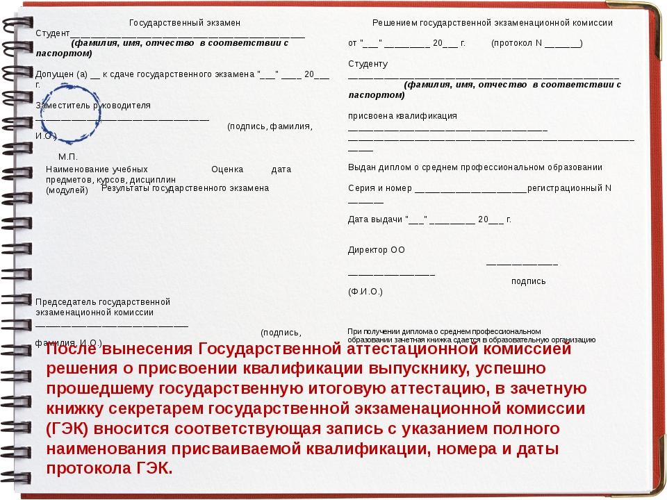 После вынесения Государственной аттестационной комиссией решения о присвоении...