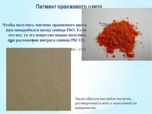 Пигмент оранжевого цвета Чтобы получить пигмент оранжевого цвета нам понадоби