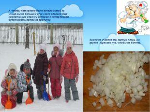 Зимой на участке мы кормим птиц, а в группе нарезаем лук, чтобы не болеть. А