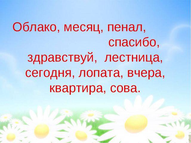 Облако, месяц, пенал, спасибо, здравствуй, лестница, сегодня, лопата, вчера,...