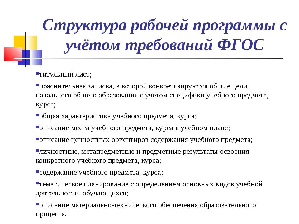 Структура рабочей программы с учётом требований ФГОС титульный лист; поясните...