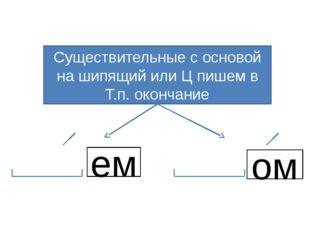 Существительные с основой на шипящий или Ц пишем в Т.п. окончание ем ом