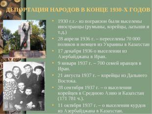 ДЕПОРТАЦИЯ НАРОДОВ В КОНЦЕ 1930-Х ГОДОВ 1930 г.г.- из погранзон были выселены