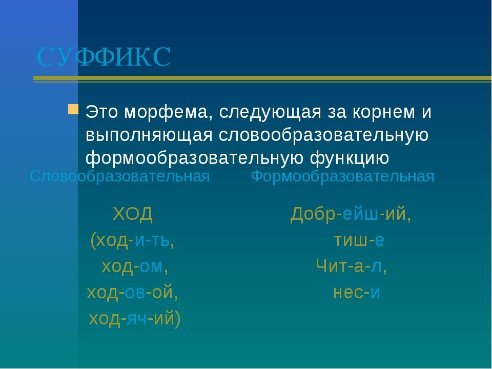 СУФФИКС Это морфема, следующая за корнем и выполняющая словообразовательную ф...
