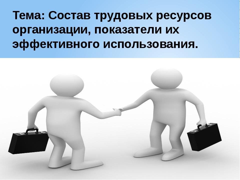 Тема: Состав трудовых ресурсов организации, показатели их эффективного исполь...