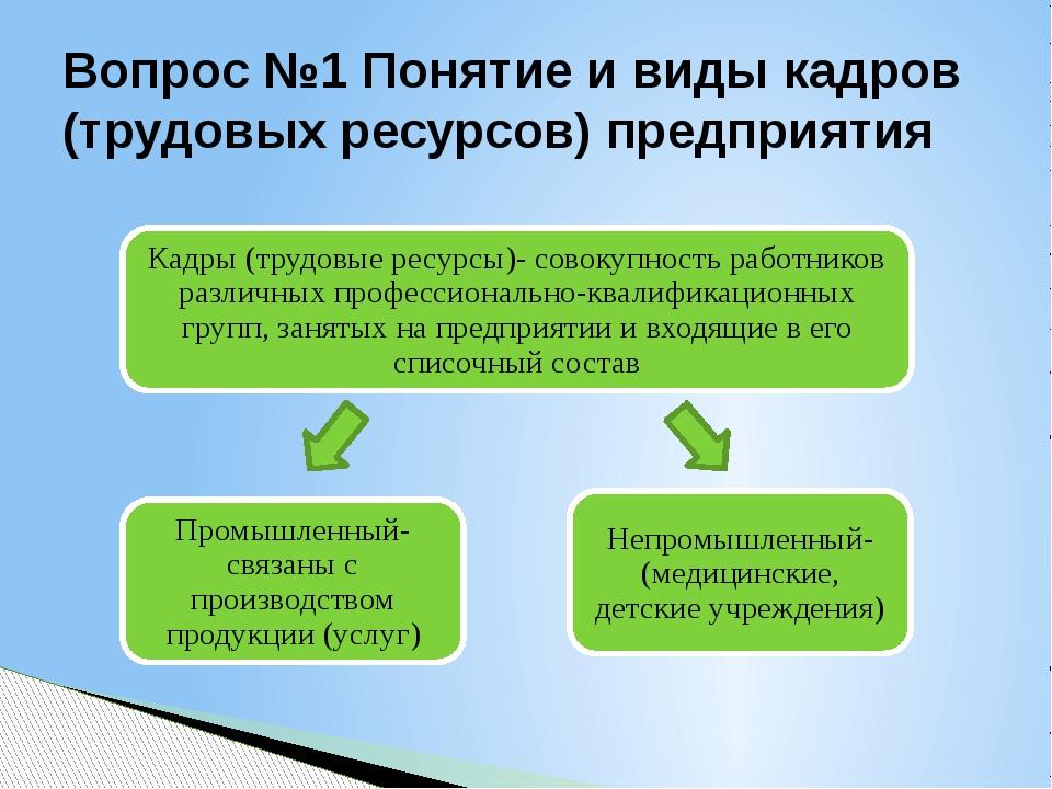 Вопрос №1 Понятие и виды кадров (трудовых ресурсов) предприятия