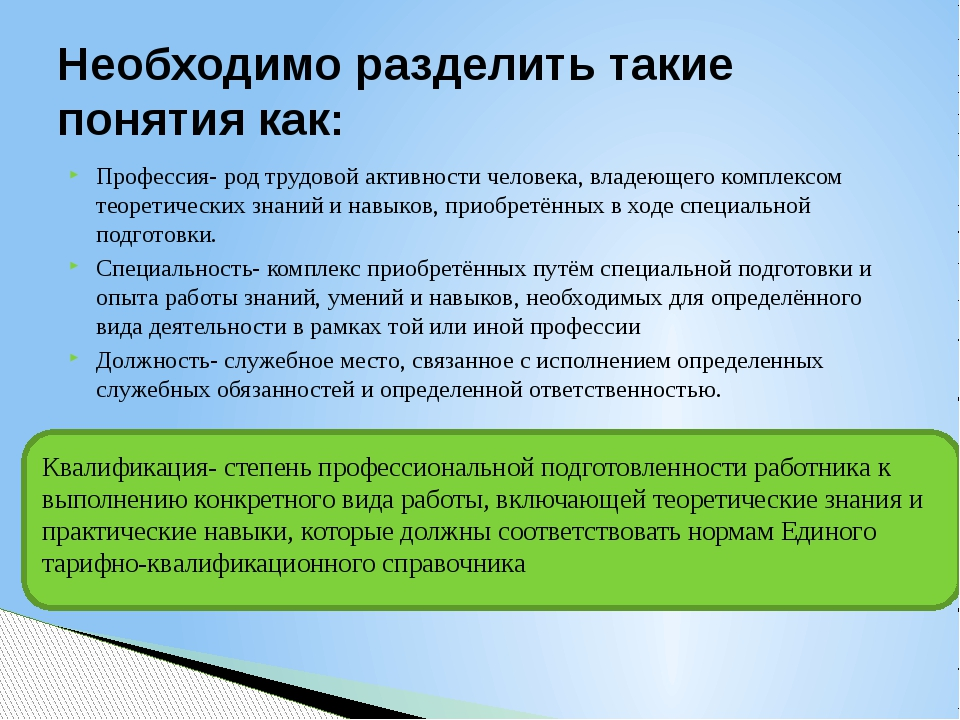 Профессия- род трудовой активности человека, владеющего комплексом теоретичес...