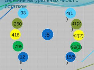 Деление натуральных чисел с остатком 33 :8 250 418 795 125 4(1) 31(2) 52(2) 9
