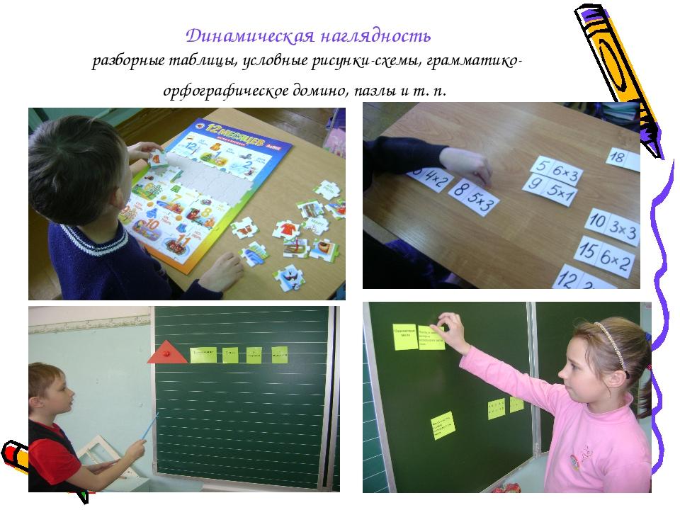 Динамическая наглядность разборные таблицы, условные рисунки-схемы, грамматик...