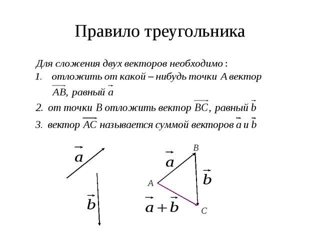 Правило треугольника А B C