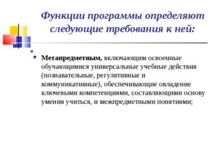 Функции программы определяют следующие требования к ней: Метапредметным, вклю