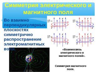 Во взаимно перпендикулярных плоскостях симметрично распространение электромаг