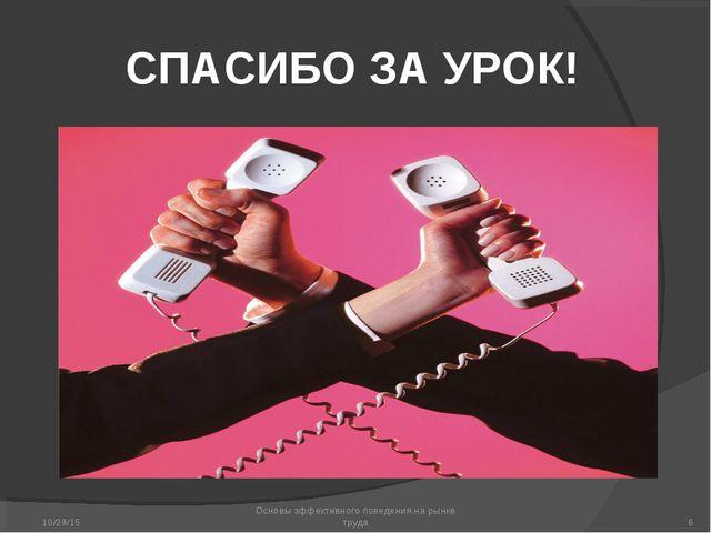 СПАСИБО ЗА УРОК! * Основы эффективного поведения на рынке труда * Основы эффе...