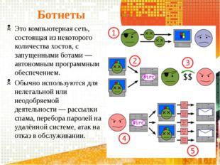 Ботнеты Это компьютерная сеть, состоящая из некоторого количества хостов, с з