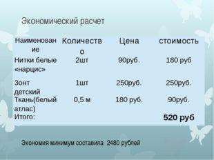 Экономический расчет Экономия минимум составила 2480 рублей Наименование Коли