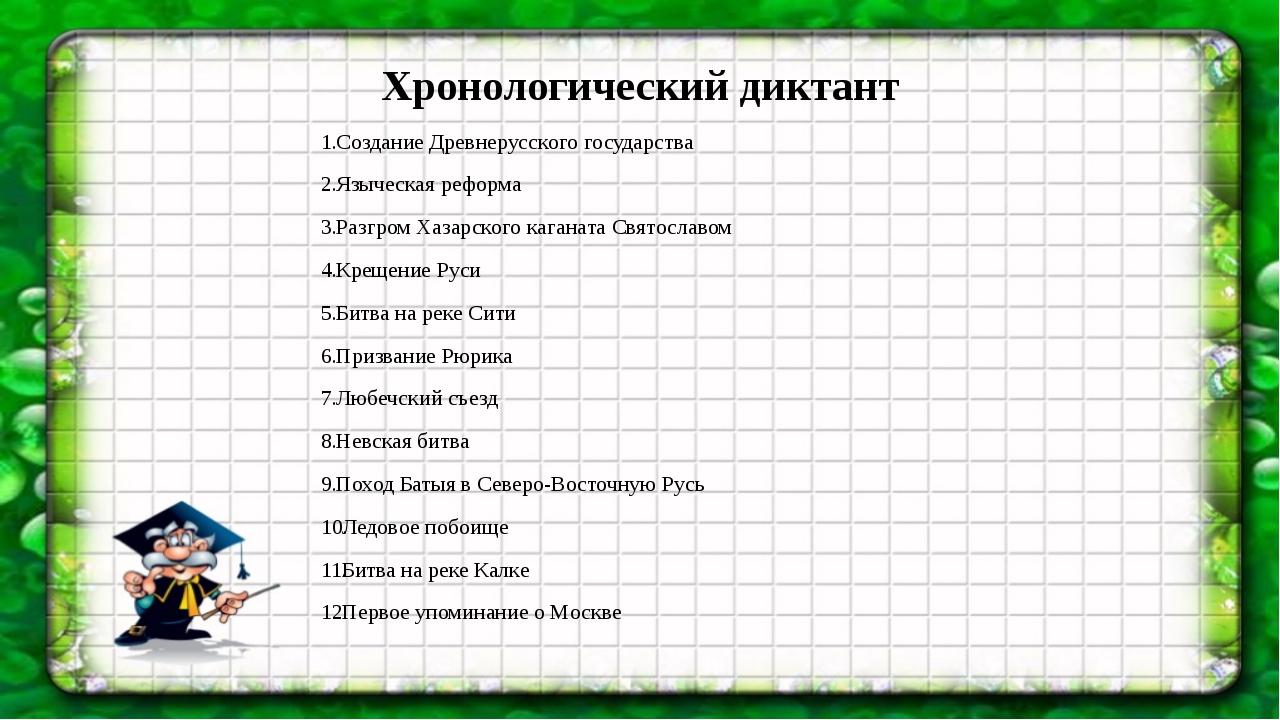Хронологический диктант Создание Древнерусского государства Языческая реформа...