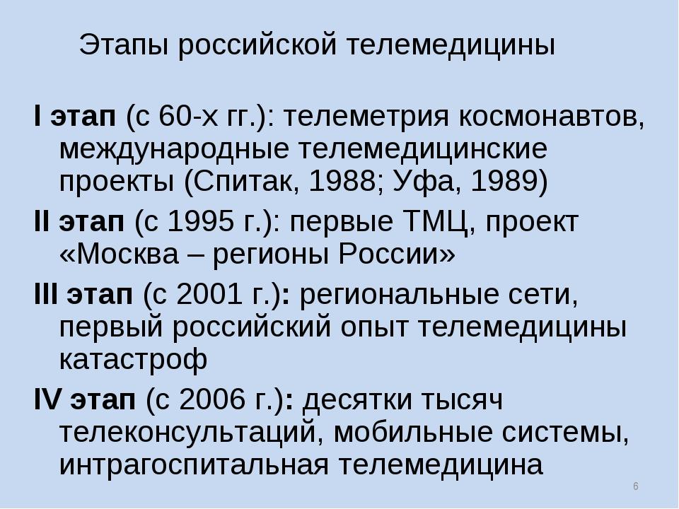 * Этапы российской телемедицины I этап (с 60-х гг.): телеметрия космонавтов,...