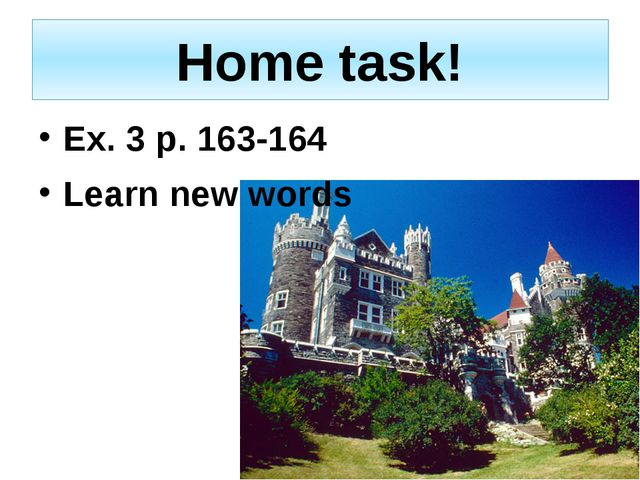 Home task! Ex. 3 p. 163-164 Learn new words
