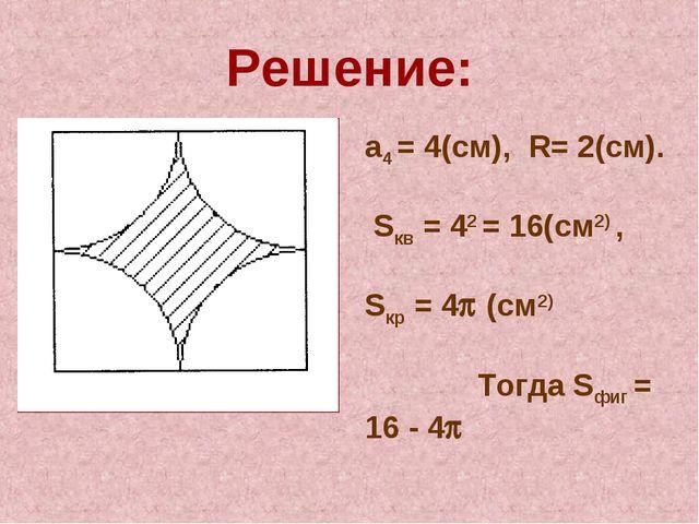 Решение: а4 = 4(см), R= 2(см). Sкв = 42 = 16(см2) , Sкр = 4 (см2) Тогда Sфиг...
