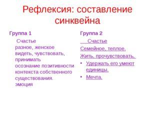 Рефлексия: составление синквейна Группа 1 Счастье разное, женское видеть, чув
