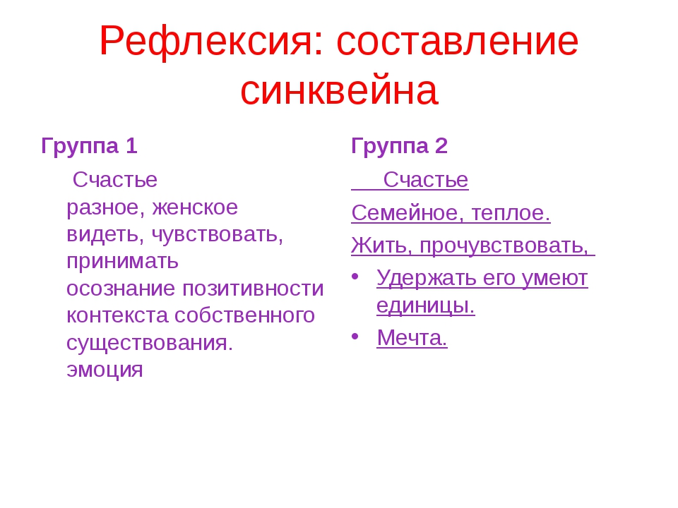 Рефлексия: составление синквейна Группа 1 Счастье разное, женское видеть, чув...