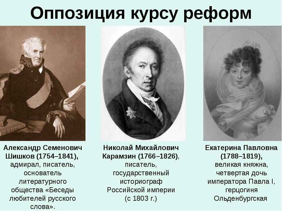 Оппозиция курсу реформ Александр Семенович Шишков (1754–1841), адмирал, писат...