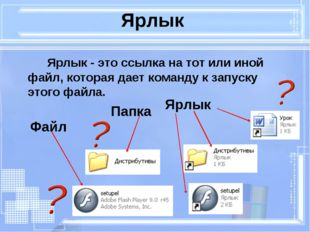 Ярлык Ярлык - это ссылка на тот или иной файл, которая дает команду к запус